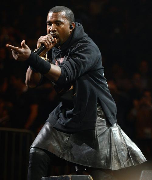Kanye in Leather Kilt